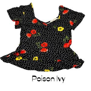 Poison Ivy floral blouse polka dots